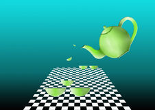 фарфор dishes свежее время чая клубник фарфора стоковые изображения