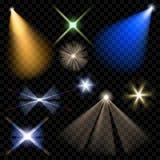 Фары вектора Освещение сцены Прозрачный свет иллюстрация штока