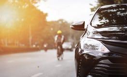 Фары крупного плана черного автомобиля Стоковые Фотографии RF