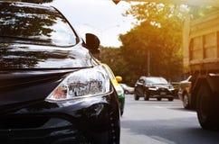 Фары крупного плана черного автомобиля Стоковое Фото