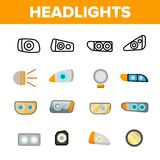 Фары, набор значков вектора автоматических Headlamps линейный иллюстрация вектора