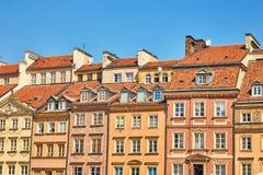 Фасады домов в старом городке в Варшаве, Польше Стоковая Фотография RF
