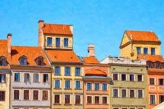 Фасады исторических зданий в Варшаве, Польше Стоковая Фотография