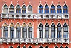 Фасад Венеция Windows Стоковые Фото