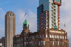 Фасад гостиницы Нью-Йорка в Роттердаме Стоковые Фото