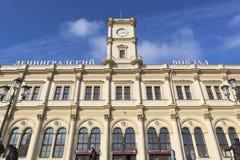 Фасад железнодорожного вокзала Leningradsky в Москве Стоковая Фотография