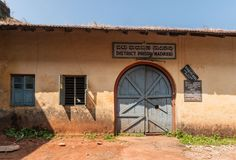 Фасад и вход тюрьмы в Madikeri, Индии Стоковая Фотография RF