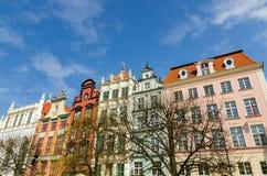 Фасад красивых типичных красочных зданий, Гданьск, Польша стоковое изображение rf
