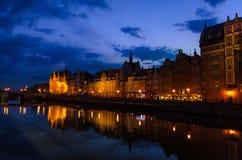 Фасад красивых типичных красочных зданий, Гданьск, Польша стоковые фото