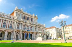 Фасад музея дворца Palazzo Carignano стоковые изображения rf