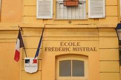 Фасад начальной школы в Menton Франции стоковые изображения