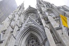 Фасад собора St. Patrick от центра города Манхаттана в Нью-Йорке в Соединенных Штатах Стоковое Изображение