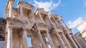 Фасад старой библиотеки Градуса цельсия в Ephesus Timelapse, Турции видеоматериал