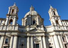 Фасад церков в стиле барокко Святого Agnes в Agone к квадрату Navona в Риме, Италии стоковая фотография