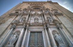 фасад girona собора Стоковое Изображение RF
