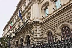 Фасад Palazzo Kock, штабов Государственного банка Италии в Риме Банк часть Eurosystem стоковое изображение