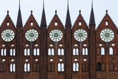 Фасад townhall Stralsund стоковое изображение rf