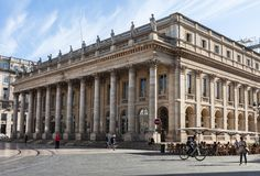 Фасад грандиозного театра Бордо, Франции Стоковое фото RF