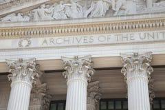 Фасад национальных архивов строя в DC Вашингтона Стоковая Фотография