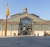 Фасад рынка с понижательной тенденцией, девятнадцатый век Готический квартал ба Стоковые Фотографии RF