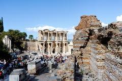 Фасад старой библиотеки Celsus в Ephesus, Турции Стоковое Изображение