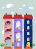 Фасад с цветастым дизайном окон. Стоковое Фото