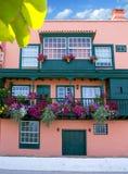 Фасады дома Santa Cruz de Ла Palma колониальные Стоковые Изображения