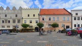 Фасады ренессанса домов в Slavonice, чехии стоковая фотография