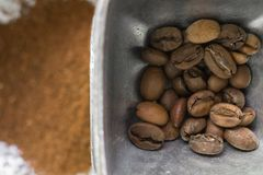 фасоли предпосылки закрывают текстуру кофе вверх Стоковые Изображения RF