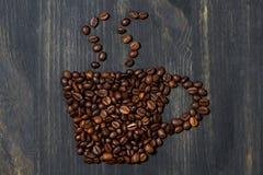 Фасоли чашки кофе, фото концепции, крупный план Стоковое Изображение