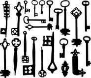 фасонируемые ключи старый скелет иллюстрация вектора