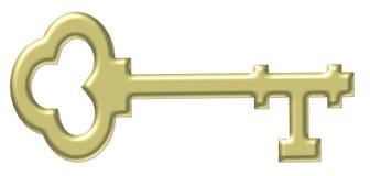 фасонируемый ключ золота старый скелет Стоковое фото RF