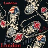 Фасонируйте безшовную картину при ботинки спорт украшенные британцами бесплатная иллюстрация