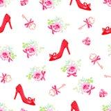 Фасонируйте ботинки и цветки пяток безшовная печать вектора Стоковая Фотография