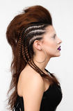 Фасонируйте девушку с профессиональными стилем причёсок, оплеткой и составом Стоковое Изображение RF