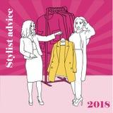 Фасонируйте дизайнера одежд работая на проекте платья пробуя различное пальто Стилизатор советует также вектор иллюстрации притяж Стоковая Фотография