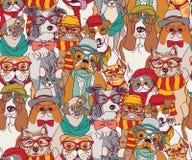 Фасонируйте котов и собак в картине цвета стекел безшовной Стоковая Фотография RF