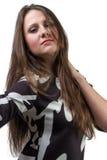 Фасонируйте портрет красивой женщины с длинными волосами стоковое фото