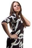 Фасонируйте портрет красивой женщины с длинными волосами стоковая фотография