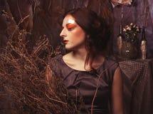 Фасонируйте портрет романтичной красивой девушки с стилем причёсок, красными губами, платьем искусства Принцесса в доме тайны Стоковые Изображения
