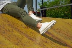 Фасонируйте портрет, людей, джинсы, тапку Стоковое Фото