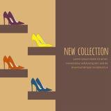 Фасонируйте предпосылку с витриной насосов или ботинок суда для приглашения в цветах темного коричневого цвета Стоковое Фото