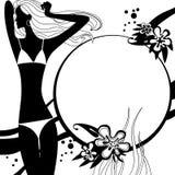 Фасонируйте страницу шаблона с силуэтом девушки в черно-белом Стоковые Фотографии RF