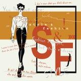 Фасонируйте цитату с женщиной моды в стиле эскиза Стоковое Изображение RF