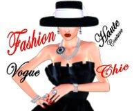 Фасонируйте эскиз, привлекательную женщину в винтажном платье черноты стиля и шляпа в нашем 3d представляет цифровой стиль искусс Стоковые Фото