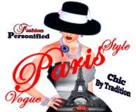 Фасонируйте эскиз, привлекательную женщину в винтажном платье черноты стиля и шляпа в нашем 3d представляет цифровой стиль искусс Стоковое Изображение