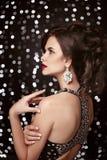 фасонируйте ювелирные изделия шикарная женщина портрета Шикарная женщина с re Стоковые Фото