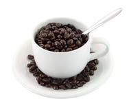 Фасоли и ложка чашки кофе Стоковое Изображение