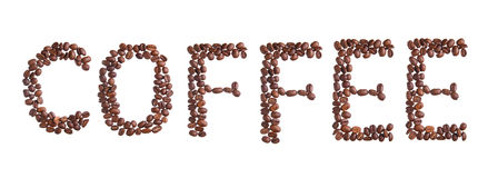 Фасоли названия кофе изолированные на белизне Стоковая Фотография RF