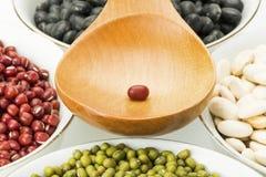 Фасоли разнообразия в шарах и деревянной ложке супа Стоковая Фотография RF